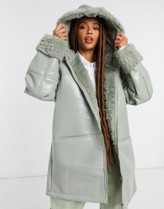 ASOS DESIGN leather look parka with borg lining in sage
