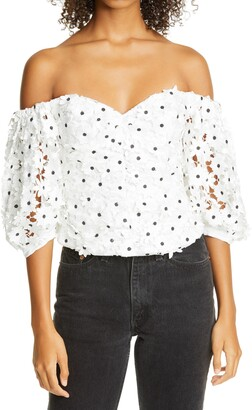 Self-Portrait Daisy Guipure Lace Puff Sleeve Off the Shoulder Top