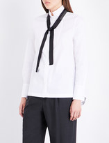 Brunello Cucinelli Tux neck-tie cotton-blend shirt