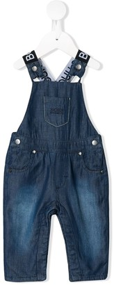 Boss Kids Logo Denim Dungarees