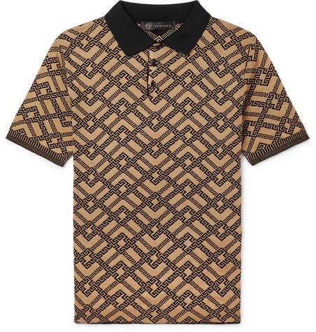 Versace Slim-fit Logo-jacquard Cotton-blend Polo Shirt - Brown