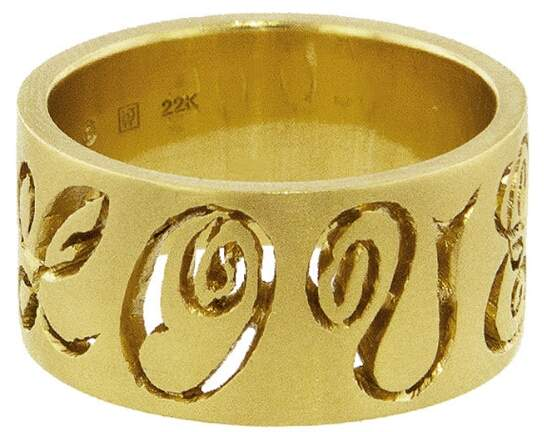 Cathy Waterman Wide Carved LOVE Band Ring