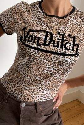 Von Dutch Leopard Ringer T-Shirt - Assorted UK 14 at Urban Outfitters