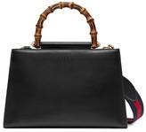 Gucci Medium Nymphea Bicolor Leather Top Handle Satchel - Black