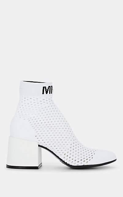 MM6 MAISON MARGIELA Women's Block-Heel Knit Ankle Boots - White
