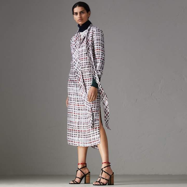 Burberry Tie-neck Scribble Check Silk Dress