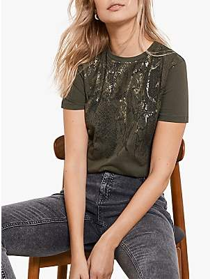 Mint Velvet Snake Foil Print T-Shirt, Khaki