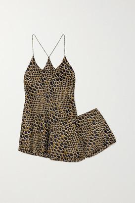 Olivia von Halle Bella Printed Silk-satin Pajama Set