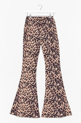 Nasty Gal Womens Wild Thoughts Leopard Flare Pants - Tan