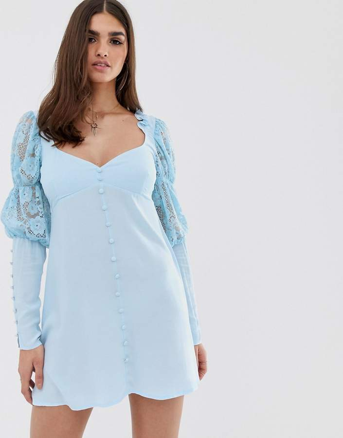 For Love & Lemons Emanuelle swing dress in Blue