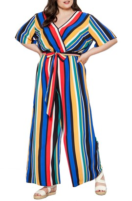 Flying Tomato Striped Wide Leg Jumpsuit (Plus Size)