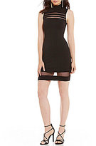 B. Darlin Mock Neck Illusion Inset Sheath Dress
