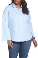 Sejour Plus Size Women's Stripe Bell Sleeve Poplin Shirt