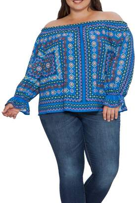 Flying Tomato Geo Printed Off-the-Shoulder Top (Plus Size)