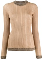 Ganni ribbed contrast top