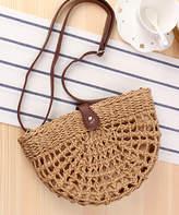 Belle De Jour Belle de Jour Women's Handbags Light - Light Brown Wicker Half-Moon Shoulder Bag