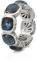 Stephen Dweck Women's 925 Sterling Silver Crystal Quartz, Mother of Pearl and Hematite Cushion Eternity Band Ring - Size O