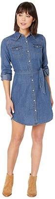 Wrangler Long Sleeve Shirtdress with Belt (Blue) Women's Clothing