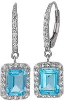 Fine Jewelry Genuine Swiss Blue Topaz & Lab-Created White Sapphire Sterling Silver Earrings