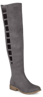 Brinley Co. Women's Faux Suede Over-the-knee Cut-out Boots