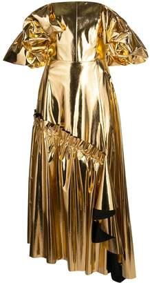 Osman Off Shoulder Metallic Dress