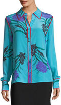 Diane von Furstenberg Long-Sleeve Collared Silk Shirt