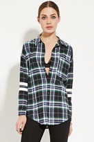 Forever 21 FOREVER 21+ Varsity-Striped Flannel Shirt