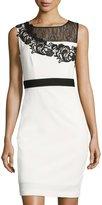 Jax Lace-Yoke Sleeveless Sheath Dress, White/Black