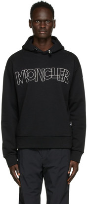 MONCLER GRENOBLE Black Graphic Lettering Hoodie