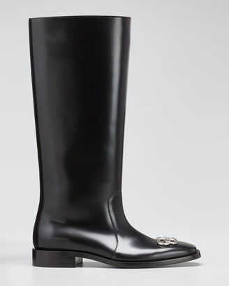 Balenciaga Men's Rim BB-Logo Leather Rain Boots