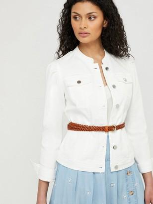 Monsoon Fern Organic Cotton Denim Jacket - White