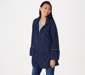 Dennis Basso Water Resistant Hooded Anorak with Embellishment