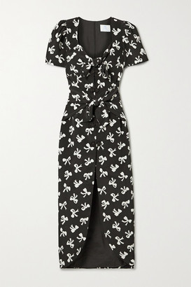 Rebecca De Ravenel Zaza Tie-detailed Printed Silk-crepe Midi Dress - Black