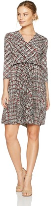 Maggy London Women's Petite Grid Plaid Jersey Fit and Flare with Pleated Skirt