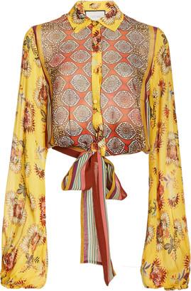 Alexis Betony Tie-Detailed Printed Chiffon Blouse