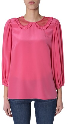 RED Valentino Sheer Collar Detail Blouse