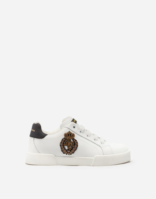 Dolce & Gabbana Portofino Light Sneakers With Logo Patch In French Wire