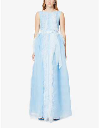 Huishan Zhang Beau feather-trimmed silk-blend gown