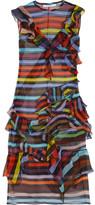 Givenchy Ruffled Striped Silk-chiffon Dress - Orange