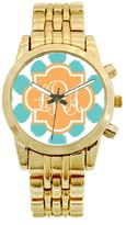The Well Appointed House Personalized Gold Plated Stainless Steel Boyfriend Watch in Blue Ikat Funk Pattern