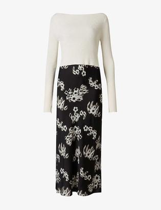 AllSaints Hera Jasmine contrast-layer crepe dress