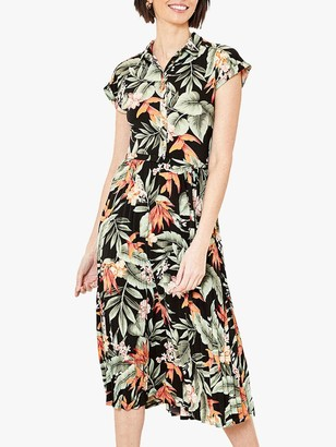 Oasis Palm Print Shirt Dress, Black/Multi