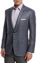 Brioni Plaid Cashmere-Blend Sport Coat, Gray