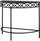 Pilaster Designs Mia Crescent Entryway Console Table, Pewter Metal & Black Tempered Gla