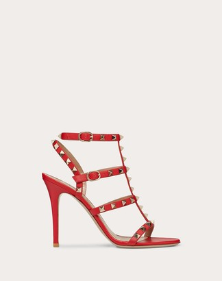 Valentino Rockstud Calfskin Ankle Strap Sandal 100 Mm Women Rouge Pur 100% Pelle Di Vitello - Bos Taurus 36