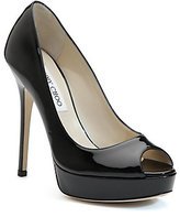 Crown Patent Leather Peep-Toe Pumps