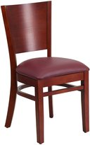 Flash Furniture Lacey Series Solid Back Mahogany Wooden Restaurant Chair with Burgundy Vinyl Seat