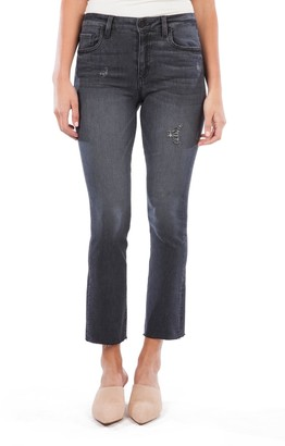 KUT from the Kloth Kelsey High Waist Raw Hem Kick Flare Jeans