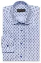Blue paisley patterned poplin shirt