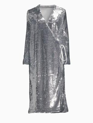 Ganni Sequin Wrap Dress